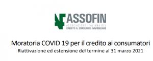Assofin: moratoria COVID 19 per il credito ai consumatori